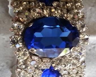 Large Elegant Sapphire, Crystals Cuff Bracelet