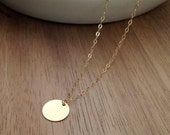 Small Gold Circle Necklace, Delicate Gold Necklace, Simple Everyday Necklace, Small Disc, Gold Fill Chain
