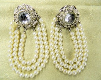 Vintage baroque crystal and pearl pierced earrings