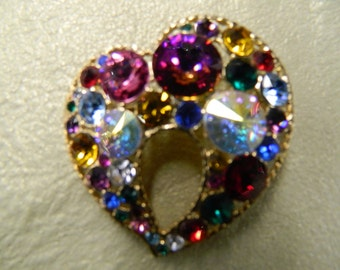Vintage multi colored crystal heart brooch