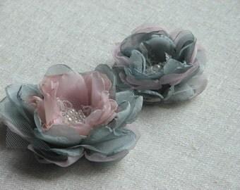 Pink grey hair flowers Grey hair flower Pink hair flower Pink ivory lace hair clips Grey pink bridesmaids gift Grey pink flower girls gift