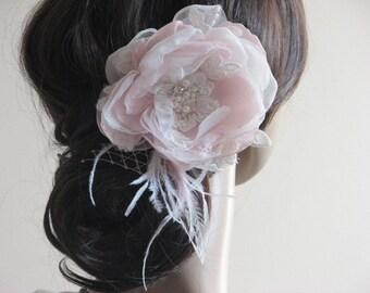 Organza hair flower Ivory blush hair flower 3 inch ivory flower Blush hair flower Ivory oragnza hair clip Lace hair clips Blush hair veil