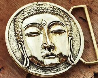 Buddha Belt Buckle in Yellow Brass with Quote by 100mics