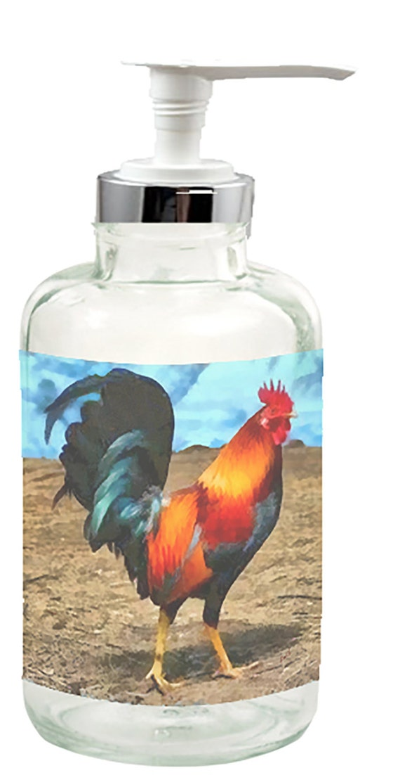 Rooster Silas Glass Soap Lotion Dispenser