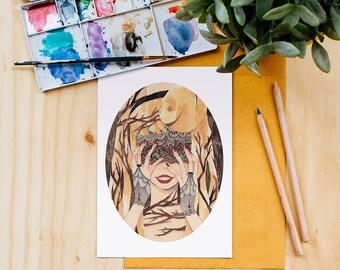 Sleeping Beauty Art Print, Blindfold, Disney Princess, Watercolor