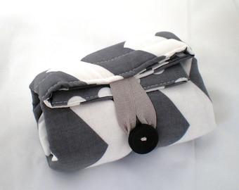 Travel changing pad - baby changing pad - travel diaper changing pad  - Gray polka dot and chevron