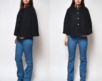 Vintage 70's Black Cape Poncho with Buttons