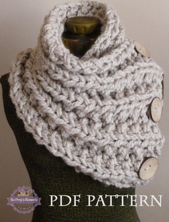 Knitting Pattern For Thick Scarf : Knitting Pattern THE LANCASTER SCARF Chunky Button Neckwarmer Pattern Knit In...