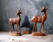 Deer Figurines Mid Century Modern Wood Carvings: Set of Two Wood Deer Carvings Christmas Decor