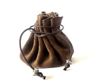 Drawstring leather pouch, Coin Purse, Dark brown, Leather pouch bag, Small leather pouch, Tobacco pouch, Key pouch, Money pouch, Pouch bags