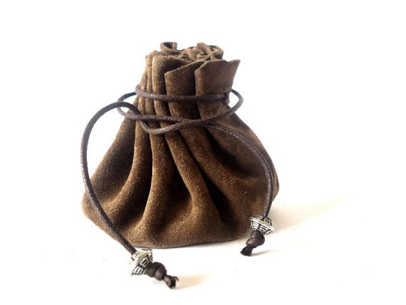 Drawstring leather pouch Coin Purse Dark brown Leather