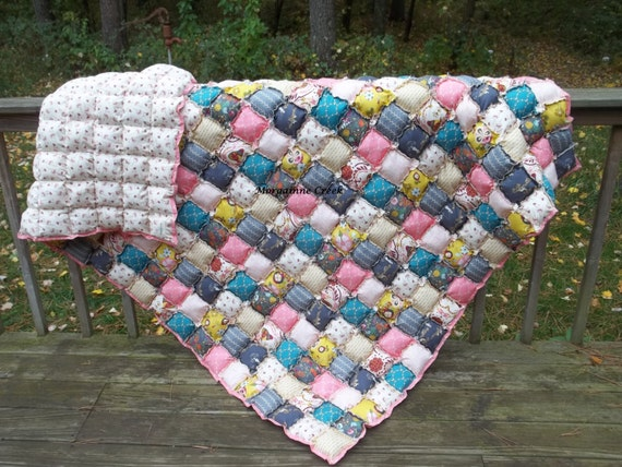 Twin Size Rag Puff / Biscuit Quilt - Custom Order - many fabric options available.
