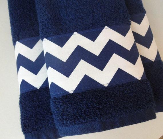 Navy Chevron Towel Towels Hand Towel Navy Bathroom Navy