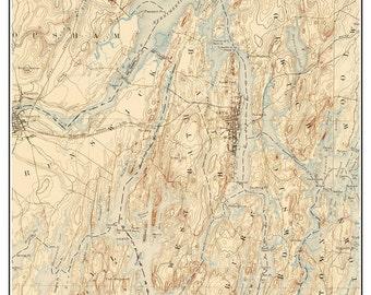 Bath 1894  Topographic Map USGS  Custom Composite Reprint Maine