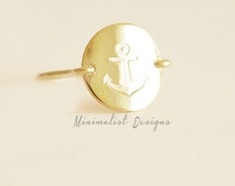 Sterling Silver, Anchor Ring, Anchor Disc Ring, Christmas Gift