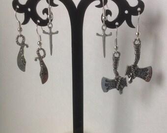 Knife, Hatchet or Sword Earrings with Nickel Free Ear Hooks