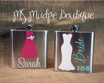 Bridesmaid Dress Flask, Bride Flask, Maid of Honor Personalized Flask, Bridal Party Gift, Stainless Steel 6 oz Flask