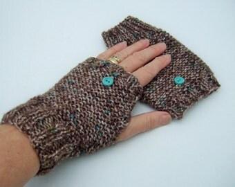 Brown Tweed Fingerless Gloves, Ladies hand Knit Gloves