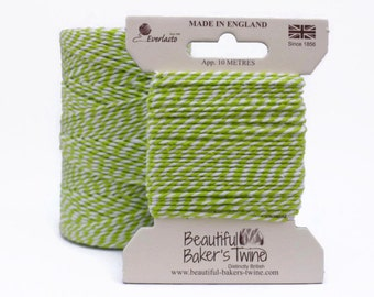 Lime Green Baker's Twine - 10m Green and White String - Green Twine - Lime Twine - Everlasto Brand