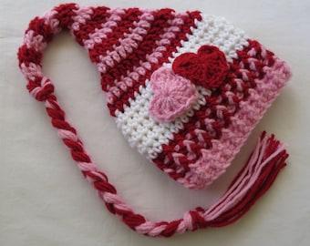 Crochet VALENTINE'S DAY Stocking HAT, Pixie/Elf Hat, Photo Props, Newborn Props, Baby Shower Gift, crochet, preemie, newborn up to 24 mo