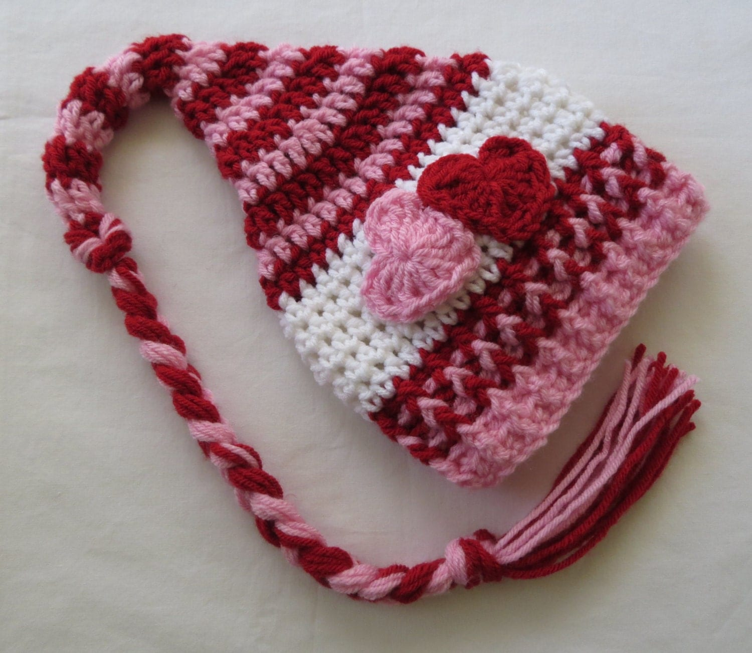 Crochet VALENTINES DAY Stocking HAT by kimcrochetcreations
