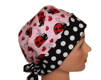 Scrub Hat Surgical Scrub Cap Chef Nurse Dr Chemo Hat Flirty Front Fold Pixie Red Pink Black White Ladybugs Hearts 2nd Item Ships FREE