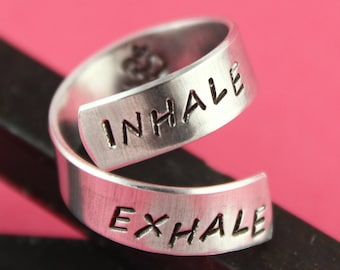 SALE - Inhale Exhale Ohm Twist Ring - Adjustable Ring - Hand Stamped Ring - Mother's Day Gift