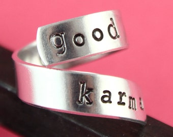 SALE - Good Karma Twist Ring - What Goes Around Comes Around Adjustable Ring - Hand Stamped Ring
