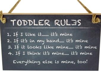 Kid's Playroom Sign No. 6 - Toddler Rules - Black