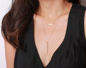 Long layering gold stick - on long 14K gold filled chain - daily jewelry