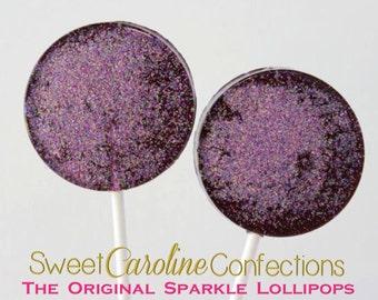 Black and Light Purple Wedding Favors, Hard Candy Lollipops, Sparkle Lollipops, Black and Purple, Lollipops, Sparkly Favors,  -Set of Six
