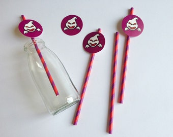 25 Cannucce di Carta di Halloween con tag fantasma  / Halloween Paper Straws With Ghosts Tags Set of 25
