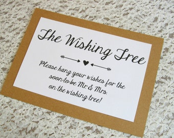 Wishing Tree Instruction Card for Bridal Shower or Wedding 5x7 Sign