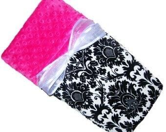 Girls Black and White Damask Minky Baby Blanket, Minky Blanket, Baby Blanket