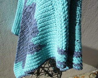 lagoon colours crochetted poncho