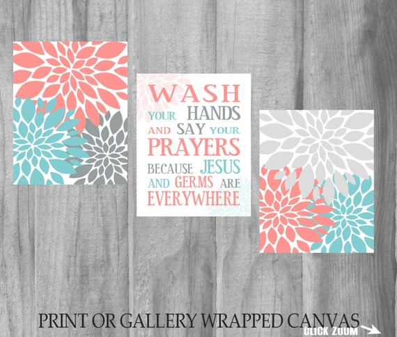 Items similar to sale bathroom wall art set wash your for Turquoise and grey bathroom accessories