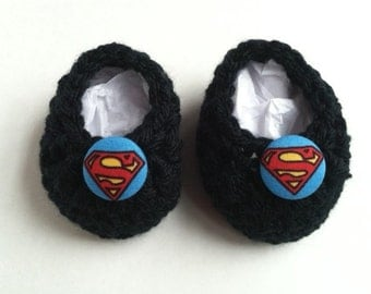 Superman baby booties,baby booties, infant shoes, crochet baby booties, booties for baby, crochet baby shoes