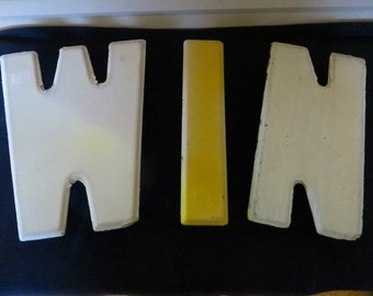 WIN, Wonderful Antique Tin Sign Letters