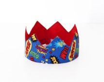 Superhero Crown, Boy's, Party Hat, Birthday Hat, Prince, King, 1st Birthday, 2nd Birthday, Hero, Dress Up Crown
