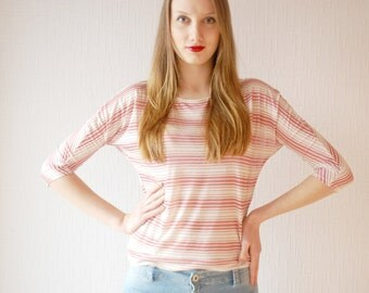 STRIPED TUNIC  ~ Raspberry color tunic ~ Pink tunic ~ Dirty pink blouse ~ Everyday shirt ~ Red shirt ~  Red tunic ~ Pink blouse shirt