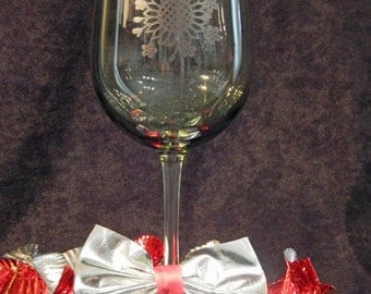 Laser etched Bachelorette wine glass