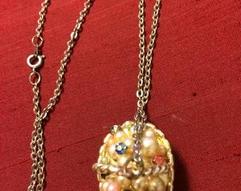 Unique 1980's Eater Basket necklace