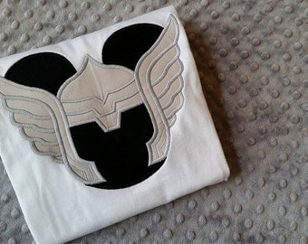 Thor - Marvel Super Heroes with Mickey Mouse Ears Appliquéd Shirts -- Disney Family Vacation Shirts