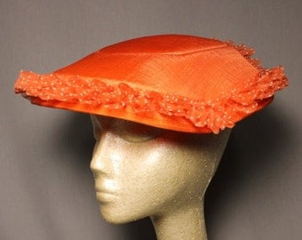 SALE was 45.00 Tangerine Orange Church Crown Wedding Easter Sunday Hat