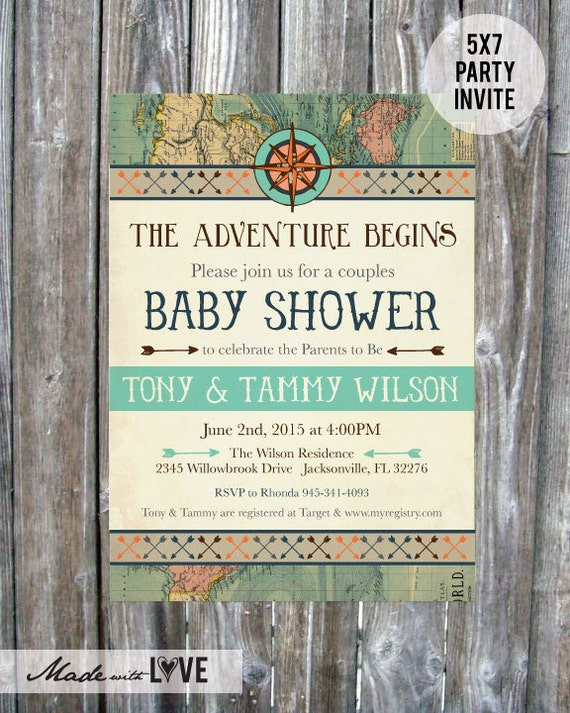 vintage map couples baby shower invitation adventure baby, Baby shower invitations