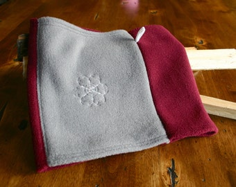 Bordeaux/Burgundy and Grey Polartec Fleece Neck Warmer / Gaiter with Crystal embellished Snowflake