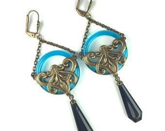 Art Deco Earrings w/ French Jet and Czech Glass