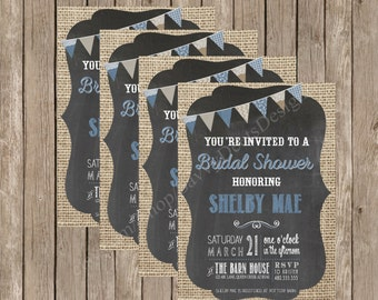 Denim Lace Burlap Bridal Shower Invite Printable