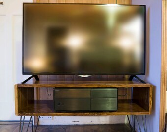 Retro Credenza-style TV Stand. Handmade with locally sourced British Brown Oak and British-made hairpin legs