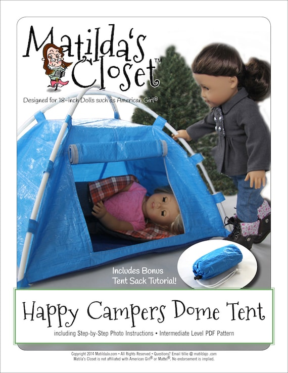 Pixie Faire Matildau0027s Closet Happy C&ers Dome Tent Doll Accessories Pattern for 18 inch American Girl Dolls - PDF  sc 1 st  Etsy & Pixie Faire Matildau0027s Closet Happy Campers Dome Tent Doll